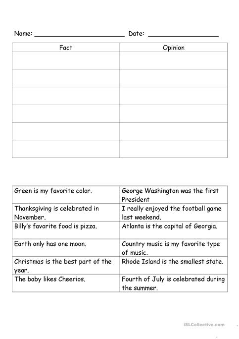 Fact And Opinion Worksheet Free Esl Printable Worksheets Made By
