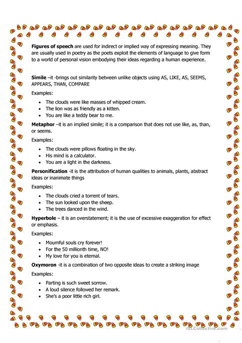 Figures Of Speech Worksheet Free Esl Printable Worksheets Made By