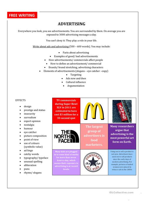 Free Writing Ads Worksheet Free Esl Printable Worksheets Made By