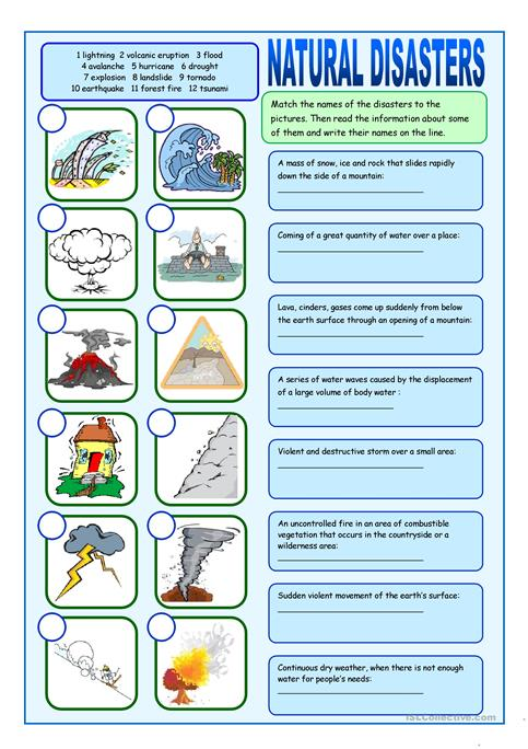 Natural Disasters Matching Exercises Worksheet Free Esl Printable