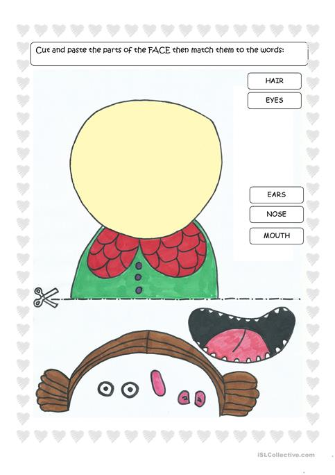 Parts Of The Face Cut And Paste Worksheet Free Esl Printable