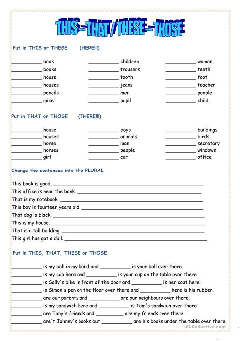 This That These Those Worksheet Free Esl Printable Worksheets