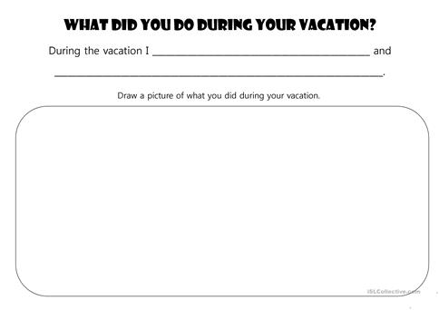 vacation reflection - Reflection Worksheet