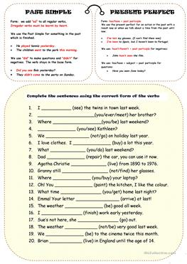 187 FREE ESL Present perfect or past simple tense worksheets