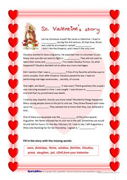 18 free esl st valentine worksheets. Black Bedroom Furniture Sets. Home Design Ideas