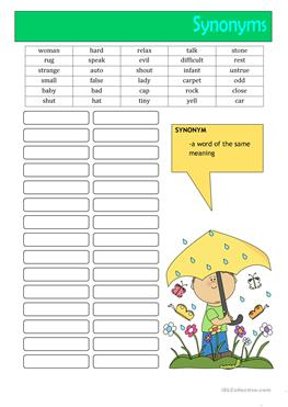 English Esl Synonyms Worksheets Most Downloaded 82 Results The synonym discipline synonymous definition words english esl synonyms worksheets most