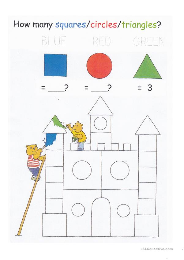 Colors, Shapes, Counting to 20, and Letter Tracing Worksheet - for young learners