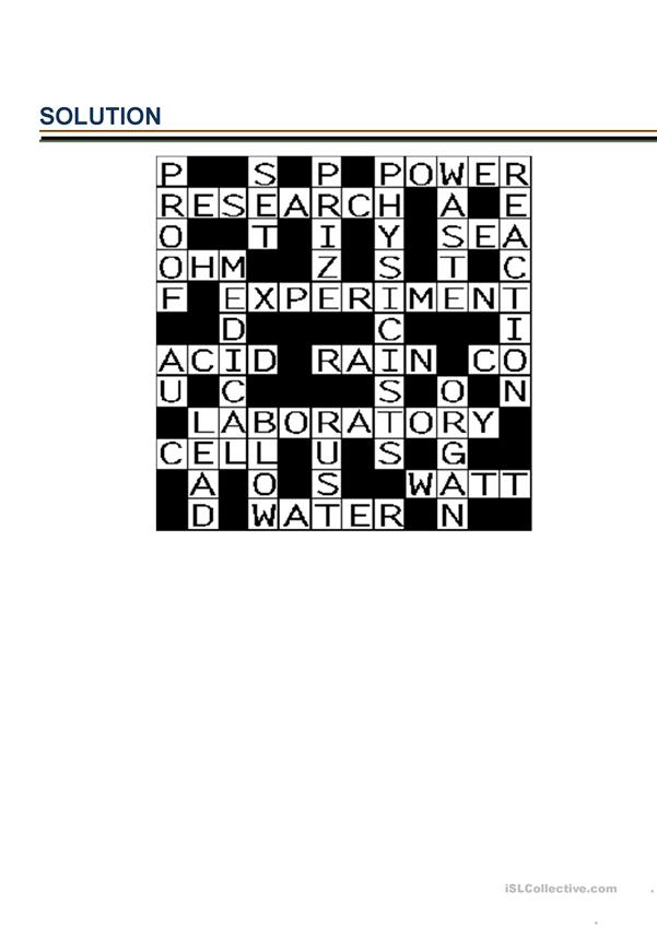 Crossword about science