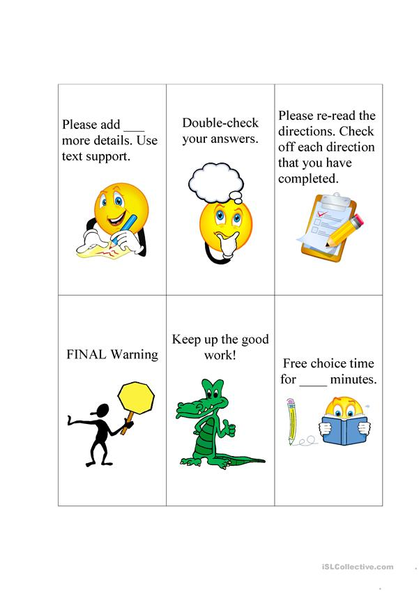 Cue Cards for Nonverbal Behavior Reinforcement