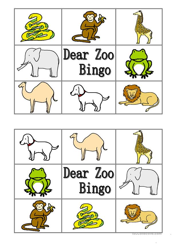 Dear Zoo Animal Bingo