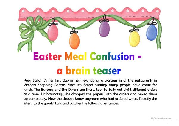 Easter Meal Confusion - A Brain Teaser
