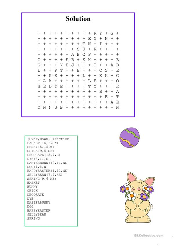 Easy Easter Wordsearch with KEY
