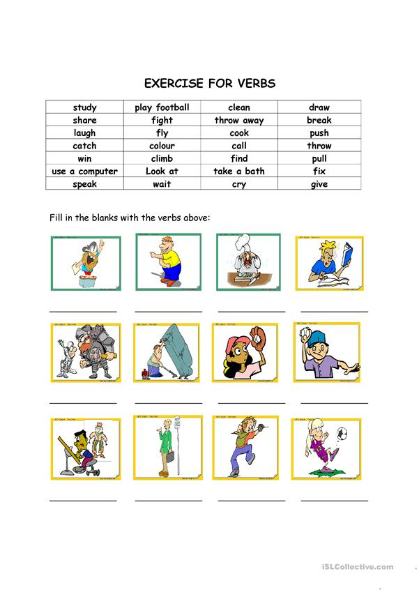 Exercise for verbs