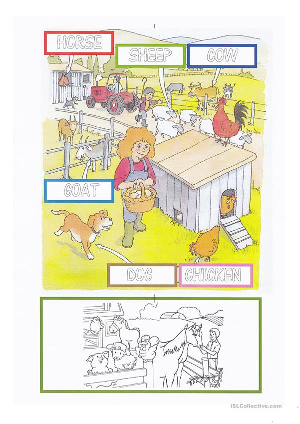 Farm Animals Letter Tracing and Coloring Worksheet - for young learners
