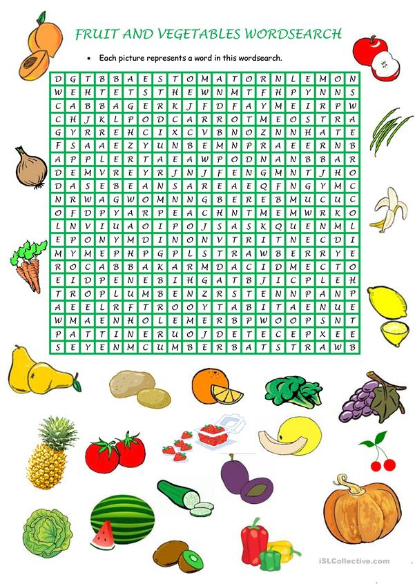 Fruit and vegetables wordsearch