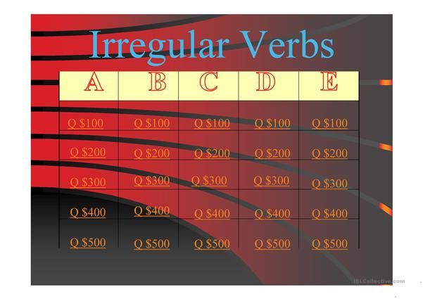Irregular Verbs Jeopardy