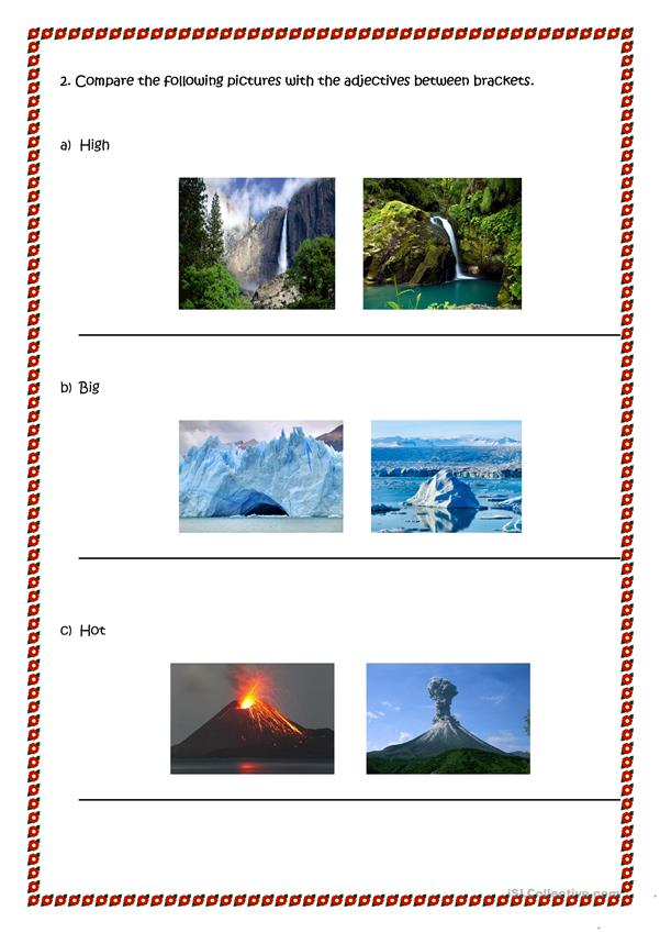 Landscapes and comparative adjectives