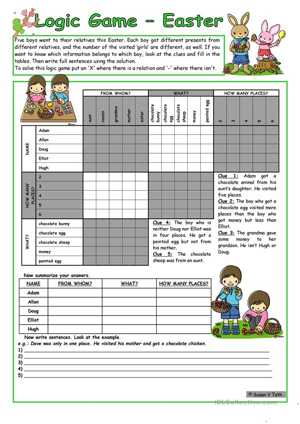 Logic game (41st) - Easter *** for elementary ss *** with key *** fully editable *** B&W