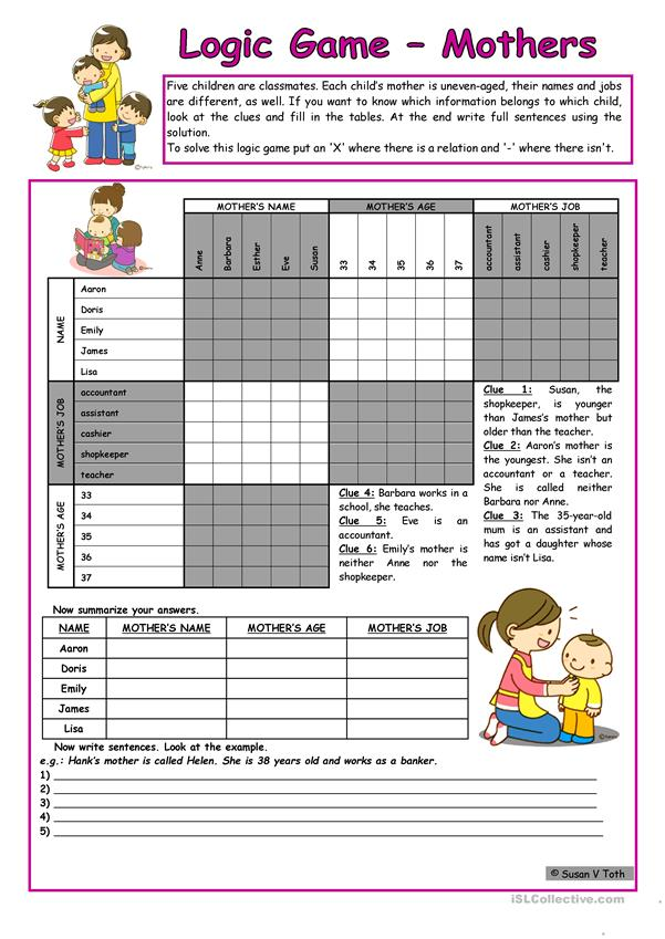 Logic game (44th) - Mothers *** for elementary ss *** with key *** fully editable *** B&W