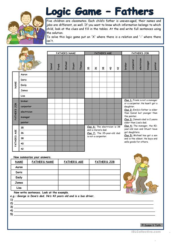 Logic game (45th) - Fathers *** for elementary ss *** with key *** fully editable *** B&W