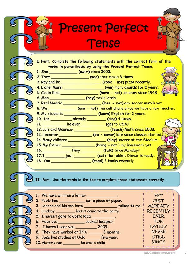 Present Perfect Tense (black and white version) Key included