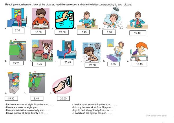 routine match the sentences with the pictures