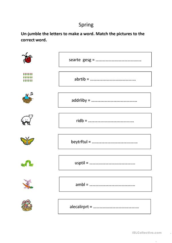 Spring worksheets (differentiated)