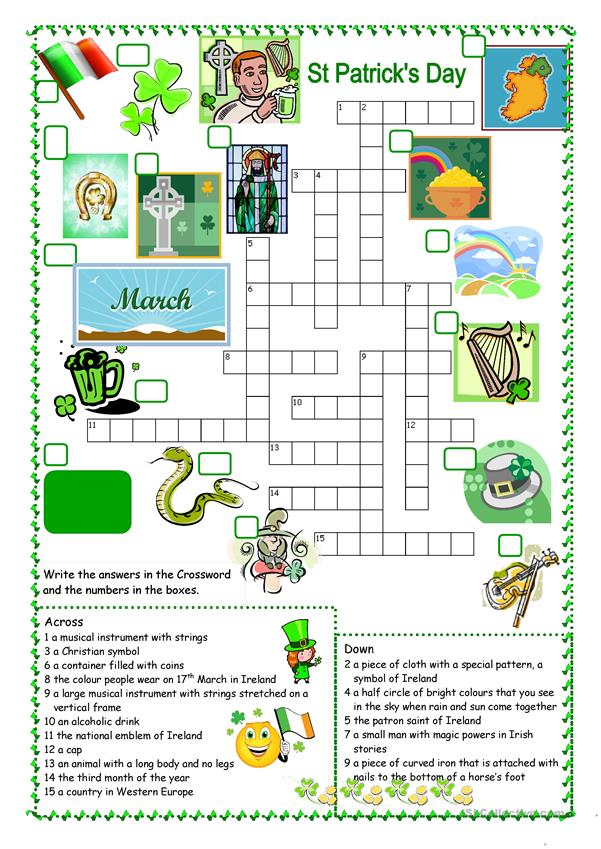 St Patrick's Day Crossword