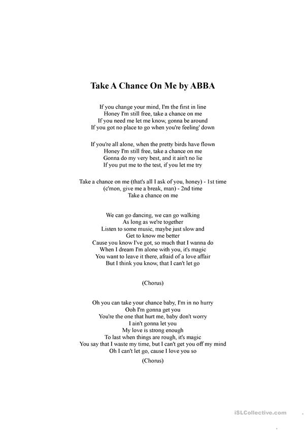 Take a Chance on Me by ABBA