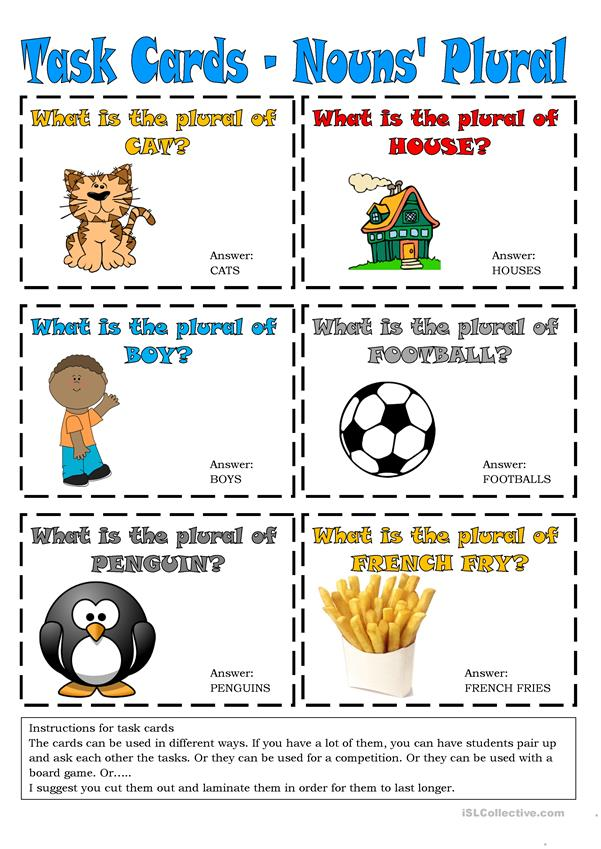 Task Cards - Nouns' Plural 1