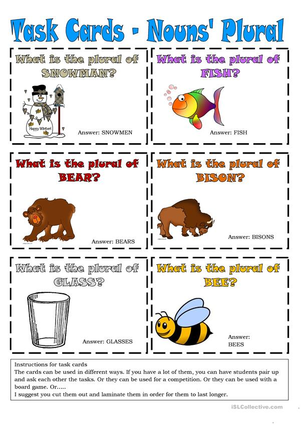 Task Cards - Nouns' Plural 4