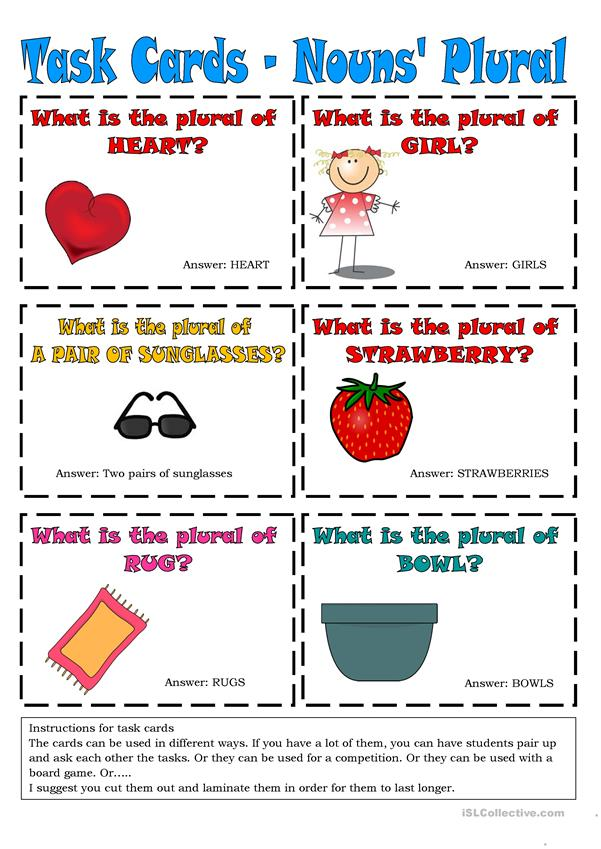 Task Cards - Nouns' Plural 5