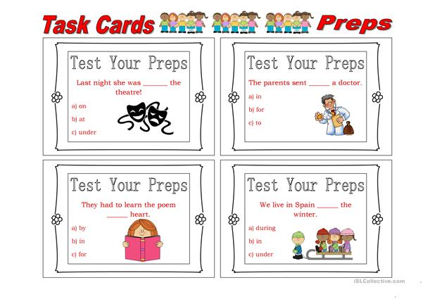 Task Cards Prepositions 2