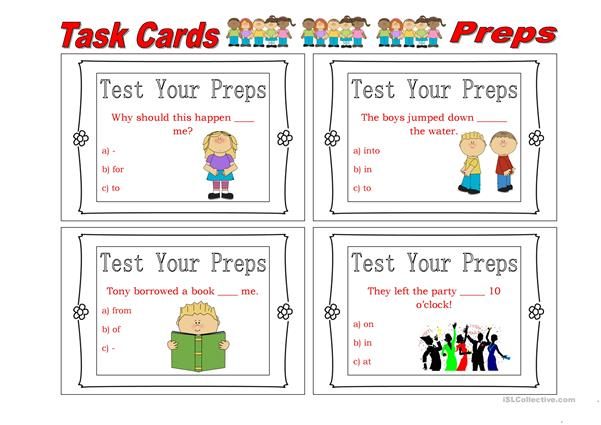 Task Cards Prepositions 3