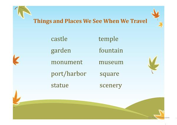 Things and Places We See When We Travel