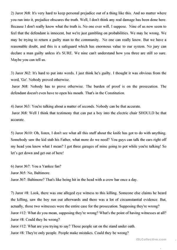 Twelve Angry Men Video Guide Worksheet Free Esl Printable. Twelve Angry Men Video Guide. Worksheet. 12 Angry Men Worksheets At Clickcart.co