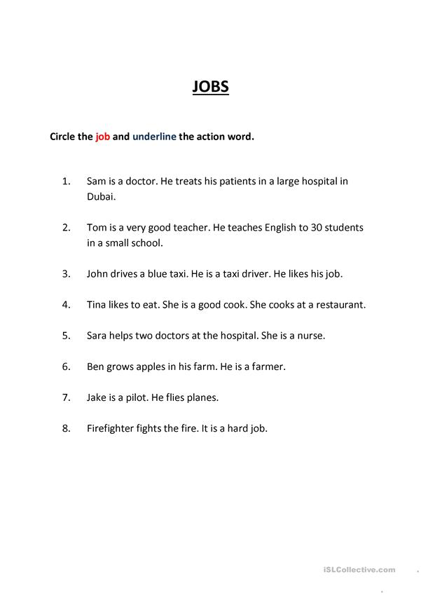 underline verb worksheet