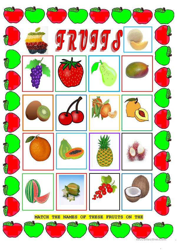 VOCABULARY: FRUITS (2 pages)