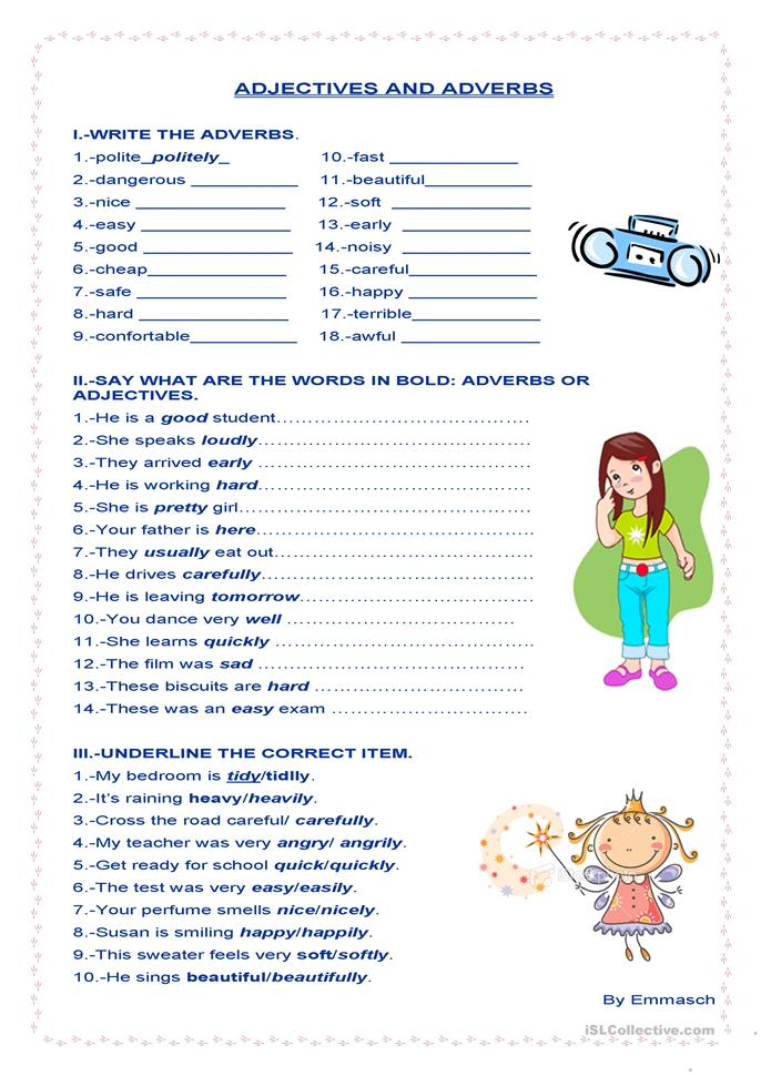 Adjectives and adverbs - ESL worksheets