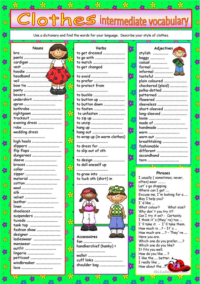 Clothes -vocabulary for intermediate level worksheet ...