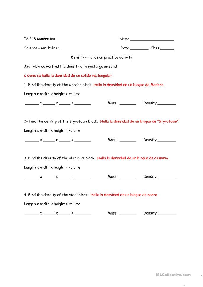Printables Bilingual Worksheets 5 free esl bilingual worksheets density practice lab