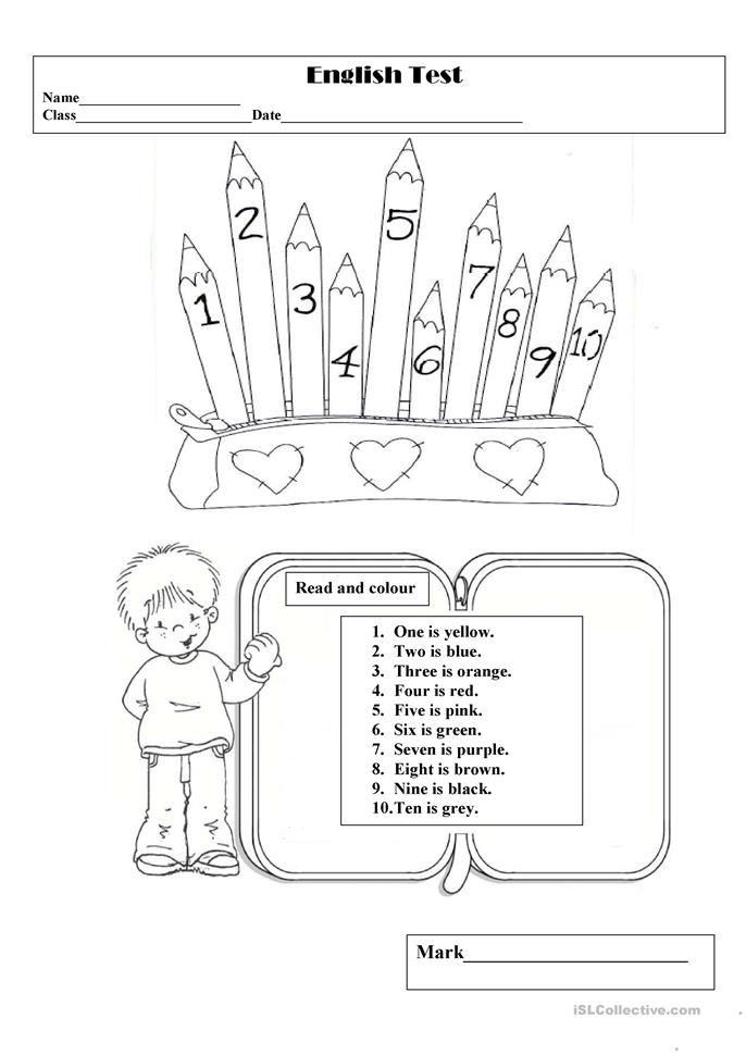 English test 2:colours&numbers 1-10 - ESL worksheets