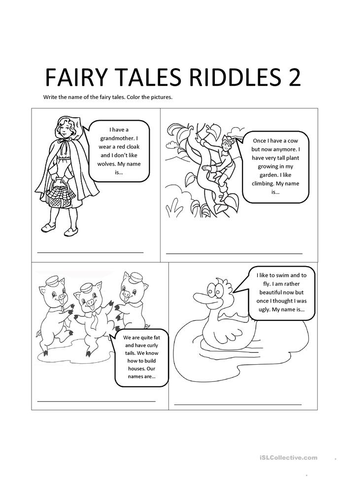 fairy tales riddles 2 worksheet free esl printable worksheets made by teachers. Black Bedroom Furniture Sets. Home Design Ideas
