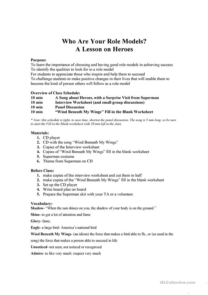 heroes who s your role model worksheet free esl printable worksheets made by teachers. Black Bedroom Furniture Sets. Home Design Ideas
