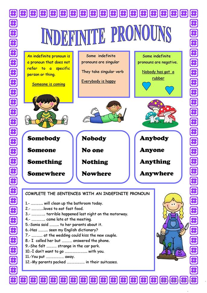INDEFINITE PRONOUNS worksheet - Free ESL printable worksheets made by ...