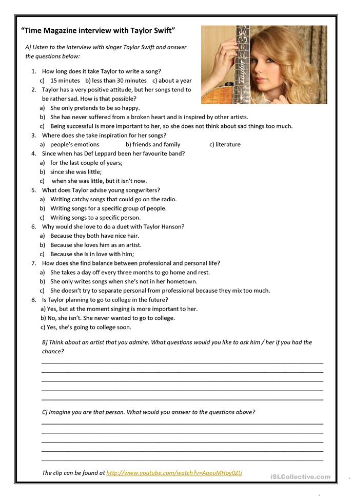 Interview with Taylor Swift worksheet - Free ESL printable ...