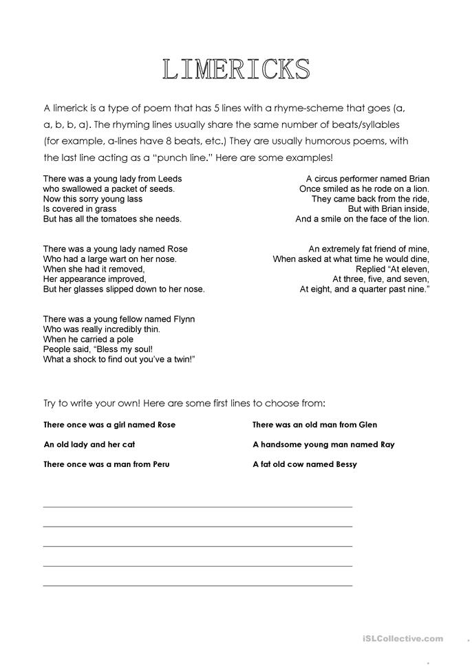 limericks worksheet free esl printable worksheets made by teachers. Black Bedroom Furniture Sets. Home Design Ideas