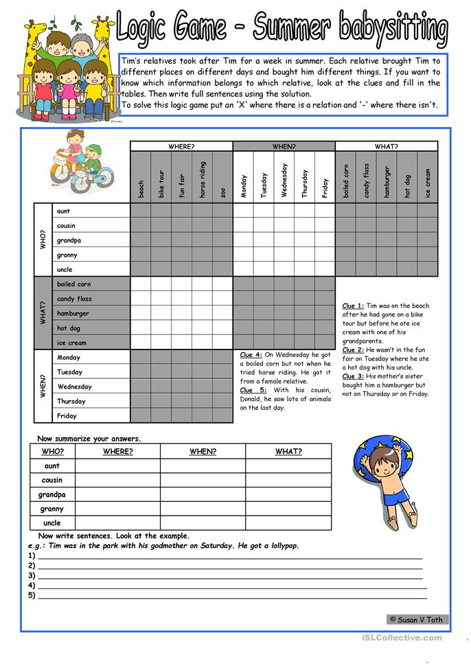 Printables Babysitting Worksheets logic game 42nd summer babysitting for intermediate ss with key fully editable bw worksheet free esl print