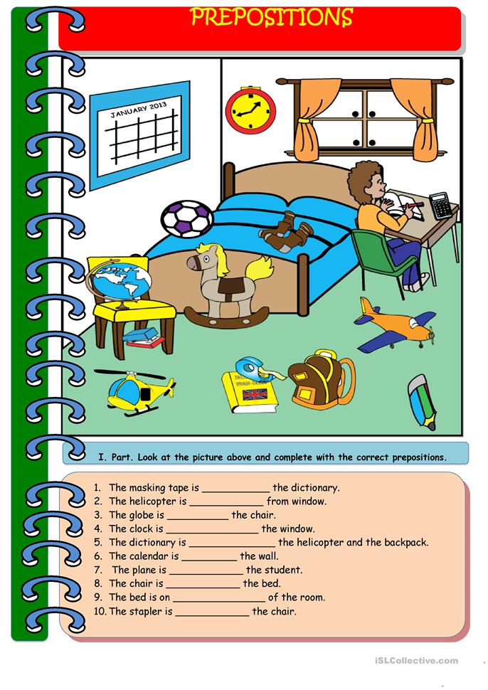 My Bedroom and Prepositions. (I drew the picture ...