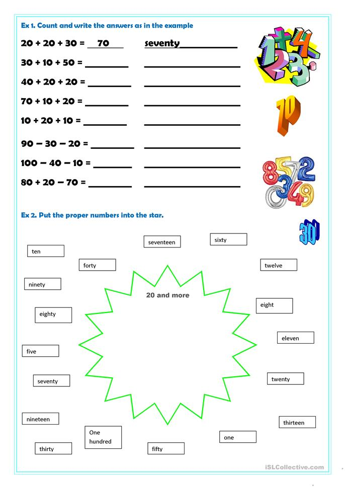... 20-100 worksheet - Free ESL printable worksheets made by teachers